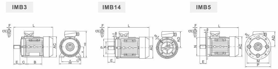 ABLE MSHE90S-4 1,1 кВт чертеж