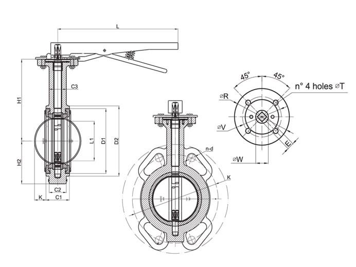 Затвор дисковый межфланцевый Ду125 чертеж