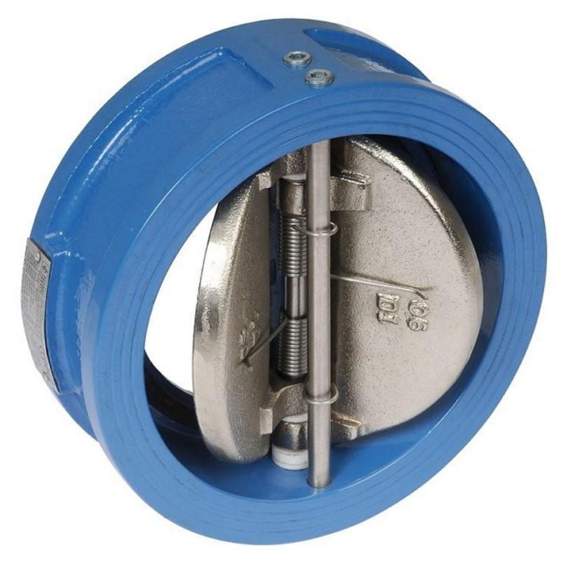 Обратный клапан межфланцевый двухстворчатый Ду 50 вид спереди