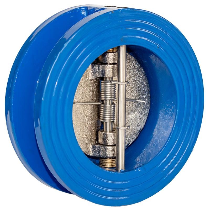 Обратный клапан межфланцевый двухстворчатый Ду 200 вид спереди