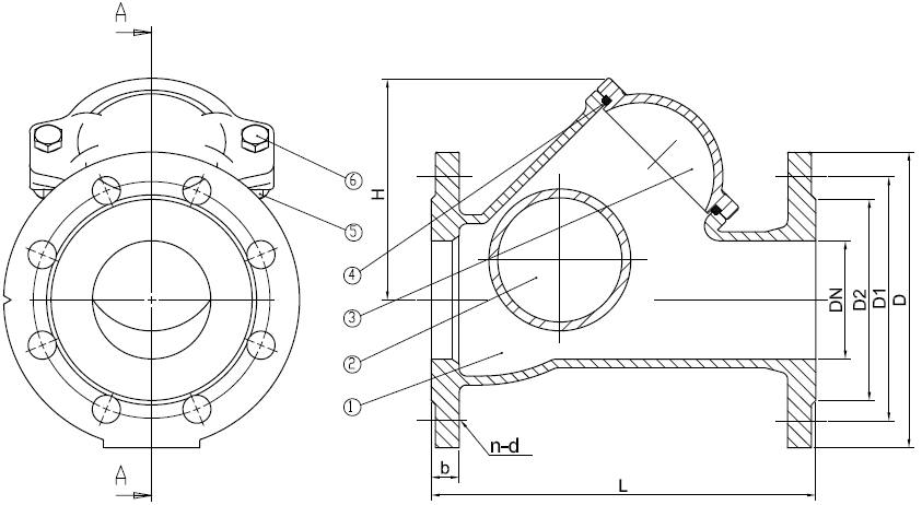 клапан обратный шаровый чугунный Ду50 размеры